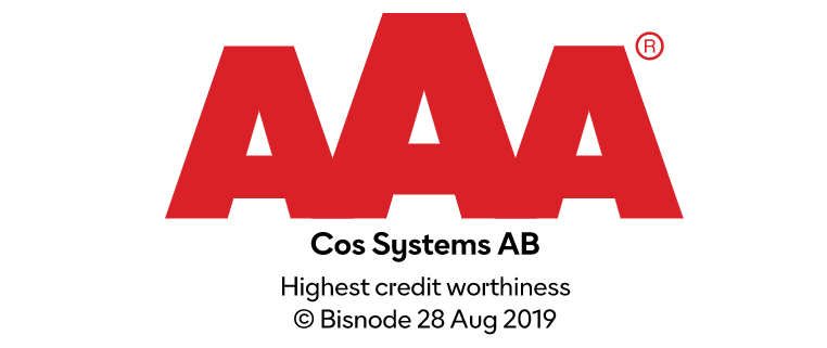 COS Systems AB AAA highest credit worthiness 2019